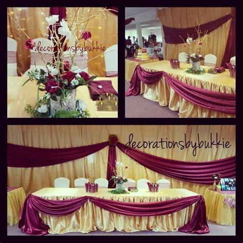 gold  burgundy backdrop    birthday head table