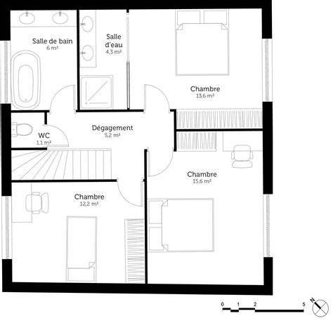 plan de maison 3 chambres plan maison avec terrasse a l 39 etage