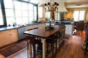 kitchen island table combo longleaf lumber reclaimed kitchen with walnut countertop and oak flooring