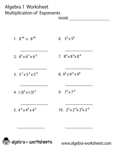printable math laws of exponents worksheets