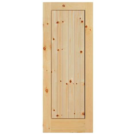 wood interior doors home depot door groove 28 in x 96 in knotty alder 2 panel top