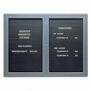 quartet enclosed magnetic letter board 48 x 36 black by With office depot letter board