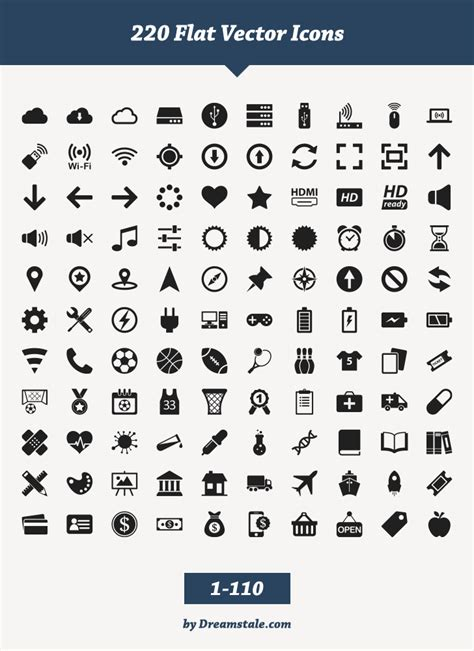 free download 220 flat vector icons dreamstale