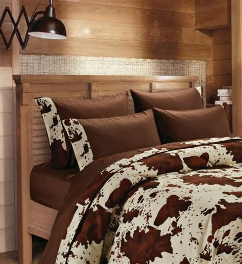 Cowhide Bedding Sets by Size Chocolate With Rodeo Cowhide Trim 6 Pc Sheet