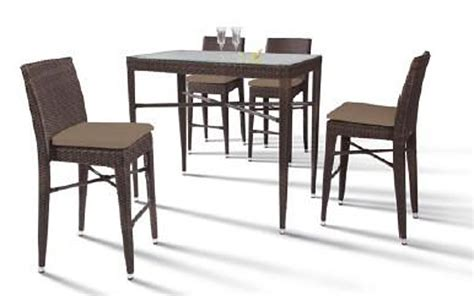 reva outdoor bar set rectangular table and 4 chairs