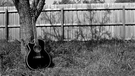 blue  black acoustic guitar  desktop background