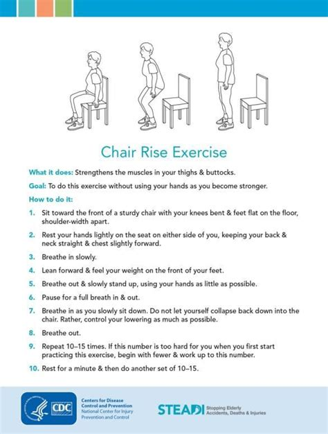 Chair Exercise For Seniors Handout by Fall Risk Assessment The Steadi Toolkit Pdf