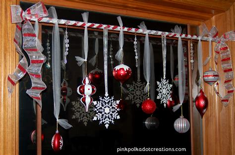 hanging christmas ornaments in window christmas window treatments pink polka dot creations