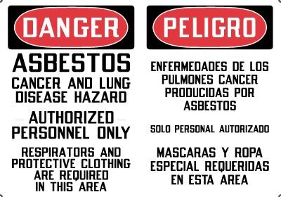 bilingual sign danger asbestos cancer  lung disease