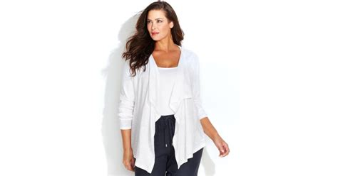 Michael Kors Michael Plus Size Longsleeve Draped Cardigan In White