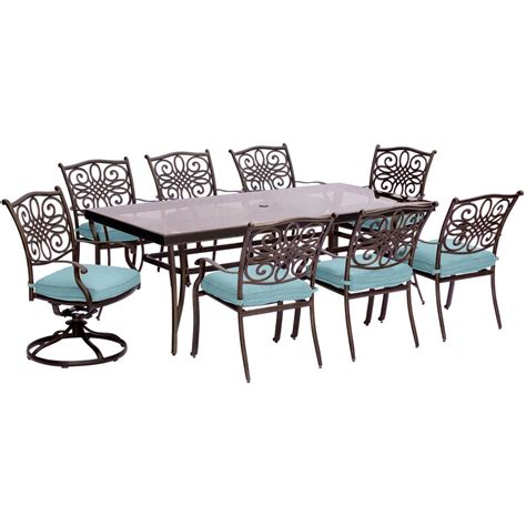 blue outdoor table and chairs hanover traditions 9 piece aluminum outdoor dining set