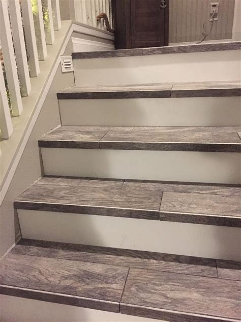 wood  tiled stair case diy house house tile stairs