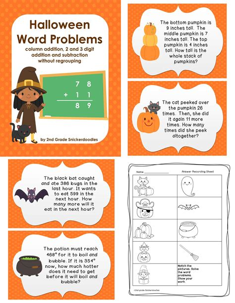 halloween word problems addition and subtraction without