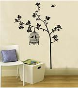 Wall Stickers Decoration Artistic Wall Stickers Tree Bird Cage Home Decoration Giant Wall Decals