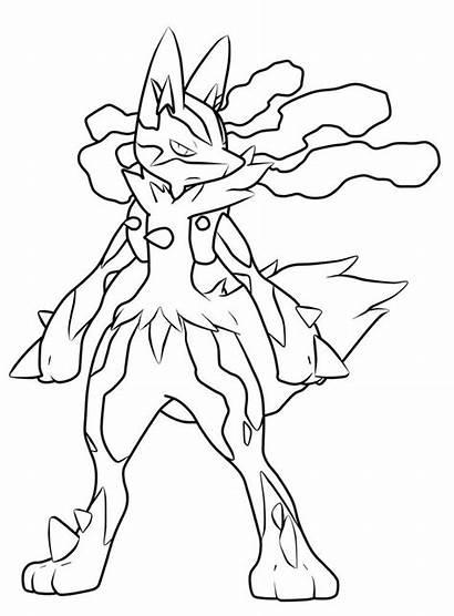 Pokemon Coloring Pages Mega Lucario Line Pa