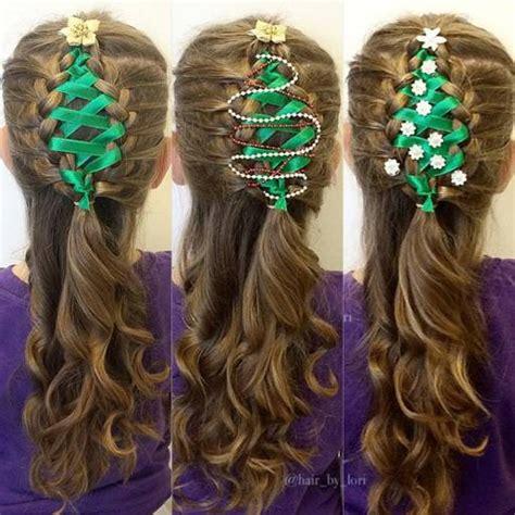 wonderful diy ribbon braided christmas tree hairstyle