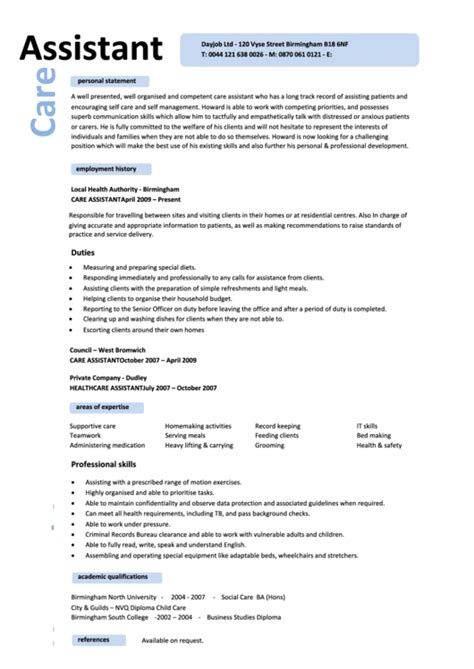 Learn how to write a personal statement for a cv to land more interviews. Personal Summary Template - Care Assistant (Personal ...