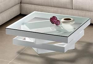 Table Basse Carrée Verre : table basse carr e bois laqu blanc et verre kaz ~ Teatrodelosmanantiales.com Idées de Décoration