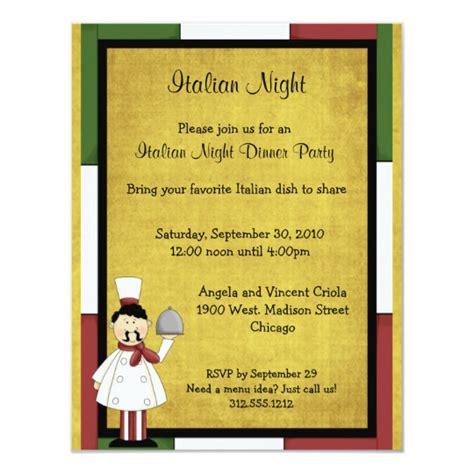 italian night dinner party invitation zazzlecom