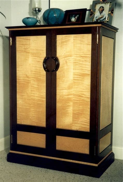 hand crafted wenge figured maple armoire  louis fry