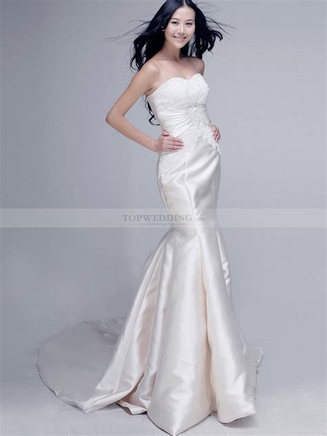 satin bridesmaid dresses strapless lace bodice mermaid satin wedding dress 0908001