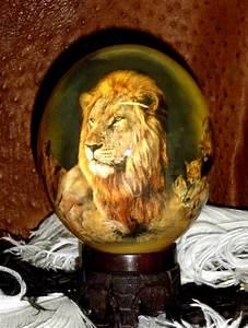 Oeuf D Autruche : peinture oeuf d 39 autruche d cor lion ~ Melissatoandfro.com Idées de Décoration