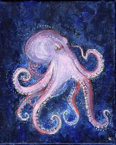 Octopus in Deep Water Acrylic Painting 8x10