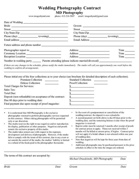 Photography Contract Template Best 25 Wedding Photography Contract Ideas On