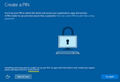 Windows Hello errors during PIN creation (Windows 10