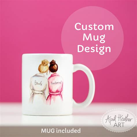 custom bridal party mug april heather art