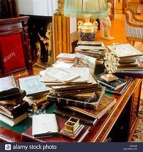 Books, Scattered, On, Wooden, Desk, Stock, Photo