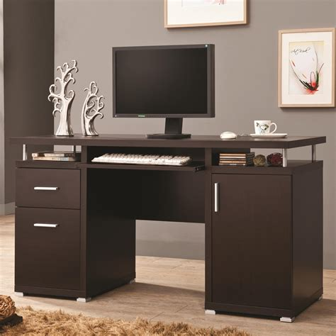 Coaster Furniture Computer Desk by Coaster Desks Cappuccino Computer Desk With 2 Drawers