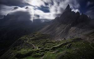 Nature, Landscape, Mountain, Clouds, Wind, Moonlight, Dirt