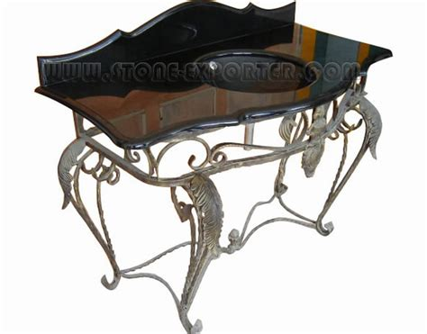 wall mount wrought iron console vanity for vessel sink marble top wrought iron base bathroom
