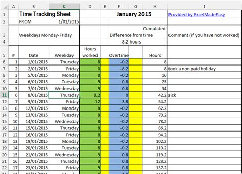 excel template time tracking sheets template