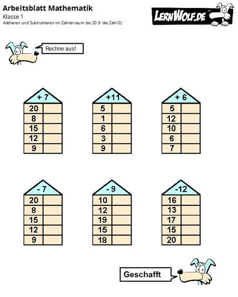 Plusaufgaben klasse 1 zum ausdrucken / rechenschlange matheratse fur kinder zum ausdrucken : Rechenaufgaben 1 Klasse Zum Ausdrucken Kostenlos