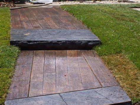 wood plank sidewalk stamped concrete  deck boards