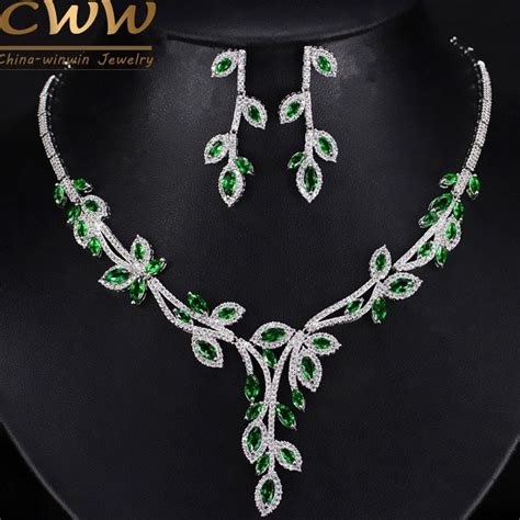 elegant leaf drop green cubic zirconia simulated diamond