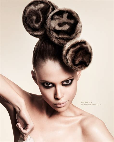 Furry hair creation   Fur pillbox hats combined for an