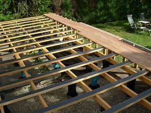 monter une terrasse bois avec double lambourdage With maison terrain en pente 10 photo maison en bois rouge sur pilotis en tha239lande