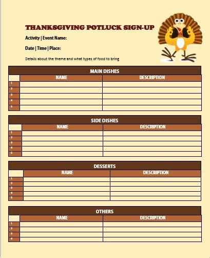 Thanksgiving Potluck Sign Up Sheet Template