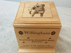 large wood dog urn laser engraved photo laser designs engraving