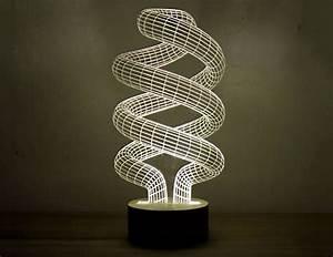 3D Optical Illusion Spiral Bulb LED Lamp - The Green Head