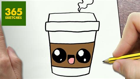 How To Draw A Coffee Cute, Easy Step By Step Drawing