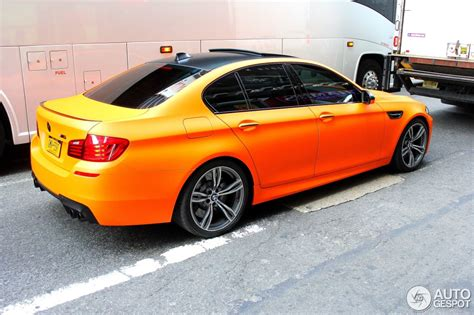 matte orange matte fire orange bmw lci m5 spotted in new york