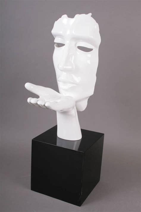 Statue Deco Contemporaine Visage Blanc Souffle Bois&deco