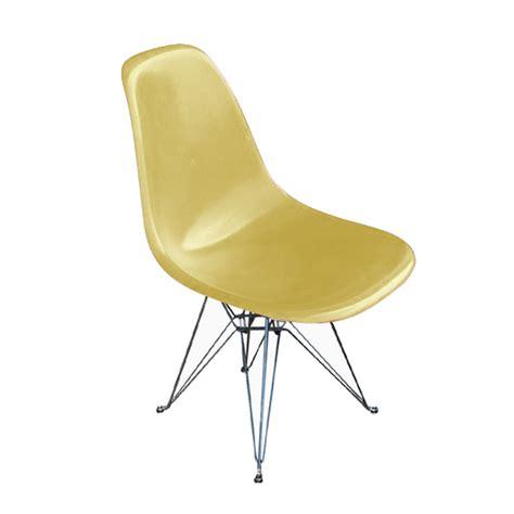 herman miller eames fiberglass side shell chair yellow