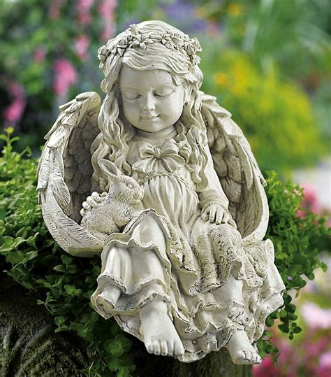 outdoor angel statues bunny cherub garden statue outdoor yard decor peace new ebay