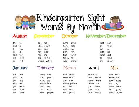 Kindergarten Sight Words 20152016  Live, Love Kinder