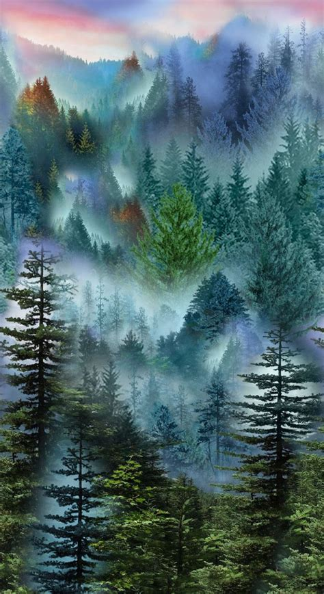 mountain side pine trees quilt panel  panel mountain